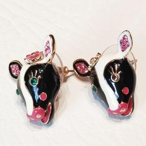 Betsey Johnson Cow Stud Earrings With Rhinestones